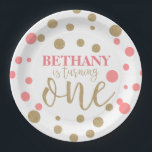 "Pink &amp; Gold Glitter First Birthday Paper Plates<br><div class=""desc"">These Pink &amp; Gold Glitter First Birthday Paper Plates are perfect for any little girl turning the big one!</div>"
