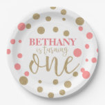 Pink &amp; Gold Glitter First Birthday Paper Plates<br><div class='desc'>These Pink &amp; Gold Glitter First Birthday Paper Plates are perfect for any little girl turning the big one!</div>