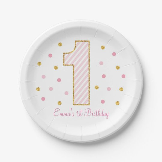 pink gold glitter first birthday paper plates. Black Bedroom Furniture Sets. Home Design Ideas