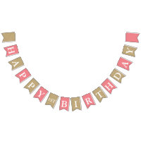 Pink & Gold Glitter First Birthday Party Banner