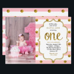 "Pink, Gold Glitter First Birthday Photo Invitation<br><div class=""desc"">Pink stripes and gold glitter polka dots are featured on this classic girl&#39;s first birthday photo invitation. Use the template form to add your party details.  The Customize feature can be used to add text to the back or change the font style.</div>"