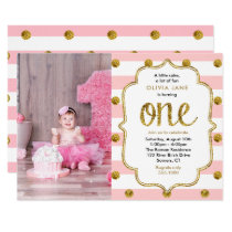 Pink, Gold Glitter First Birthday Photo Invitation