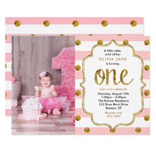 pink and gold 1st birthday invitations zazzle