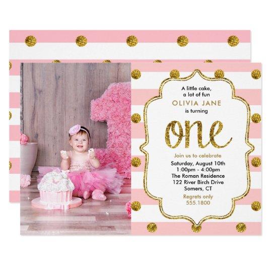 Pink Gold Glitter First Birthday Photo Invitation Zazzle Com