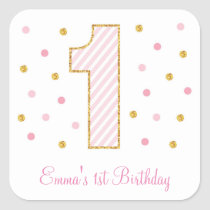 Pink & Gold Glitter First Birthday Stickers