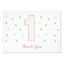 Pink & Gold Glitter First Birthday Thank You Cards