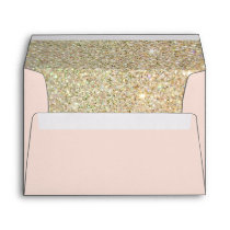 Pink Gold Glitter Floral with Return Address Envelope