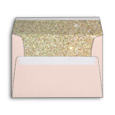 Pink Gold Glitter Floral With Return Address Envelope at Zazzle