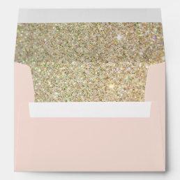 Pink Gold Glitter Floral with Return Address Envelope