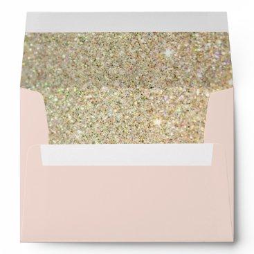 CardHunter Pink Gold Glitter Floral with Return Address Envelope