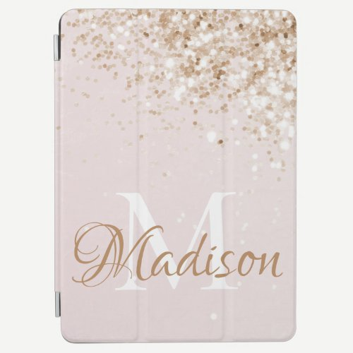 Pink Gold Glitter Girly Pretty Initial Name iPad Air Cover