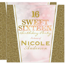 Pink Gold Glitter Glam Sweet 16 Birthday Party Card