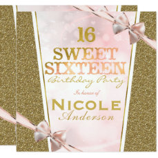 Pink Gold Glitter Glam Sweet 16 Bow Birthday Party Card