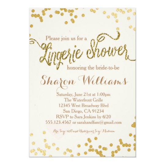 Pink Gold Glitter Lingerie Shower Invitation Zazzlecom