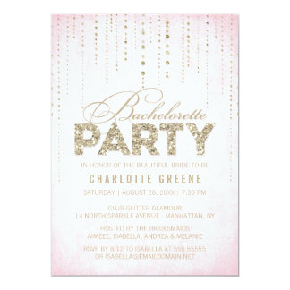 Pink & Gold Glitter Look Bachelorette Party Card