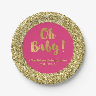 Pink Gold Glitter Oh Baby Baby Shower Plate