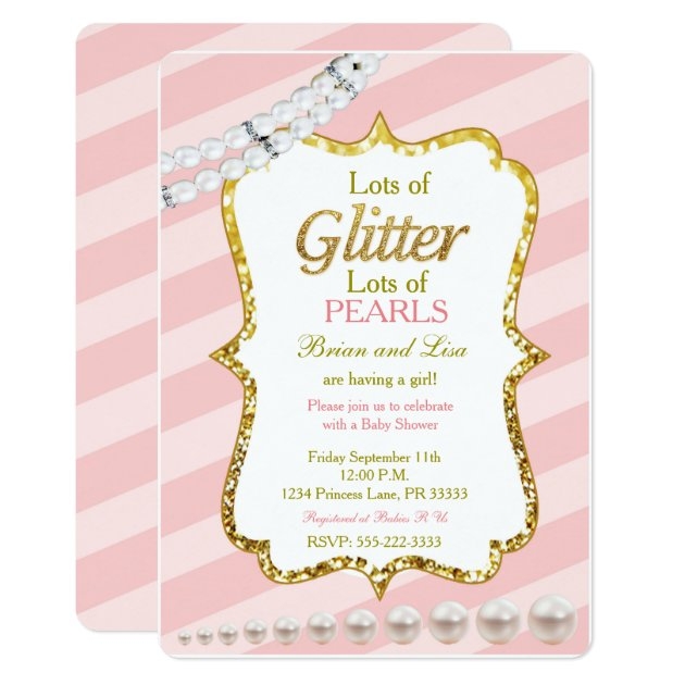Pink & gold Glitter & Pearls Baby Shower invites   Zazzle