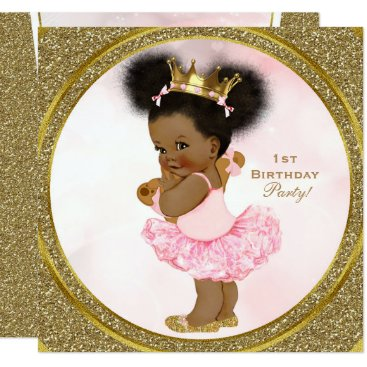 Beach Themed Pink Gold Glitter Princess Vintage Baby Girl Party Card