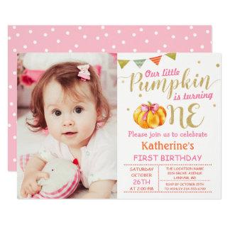 Pink Gold Glitter Pumpkin Baby 1st Birthday Photo Card