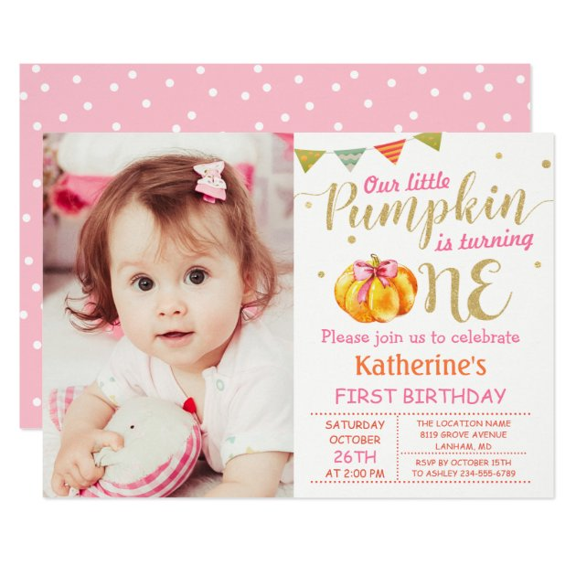 Pink Gold Glitter Pumpkin Baby 1st Birthday Photo Card