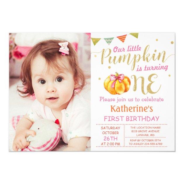 Pink Gold Glitter Pumpkin Baby 1st Birthday Photo Card (back side)