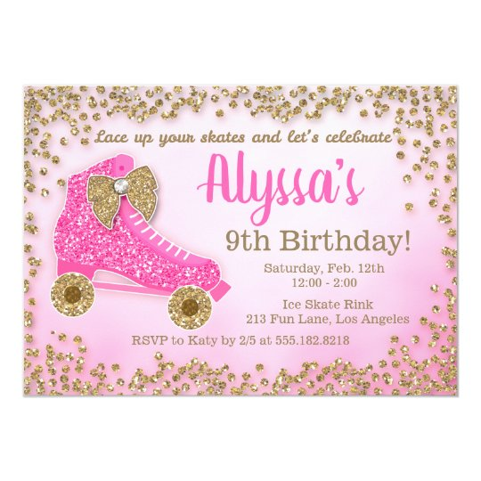 Pink Gold Glitter Roller Skate Girls Birthday Invitation