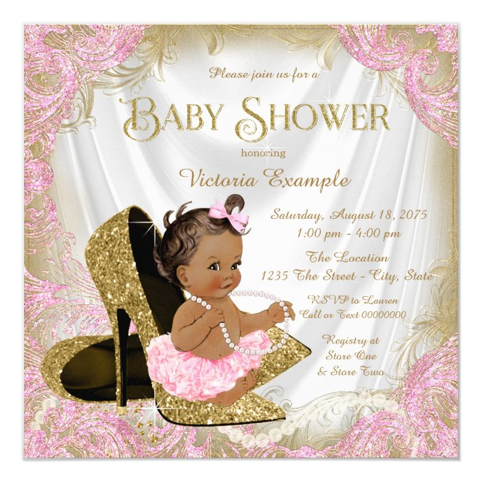 Pink Gold Glitter Shoe Pearl Ethnic Baby Shower Card Zazzle