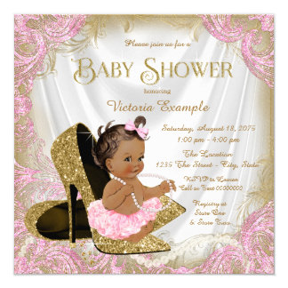 Pink Gold Glitter Shoe Pearl Ethnic Baby Shower Invitation