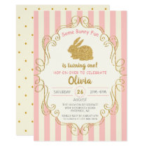 Pink Gold Glitter Some Bunny Birthday Invitation