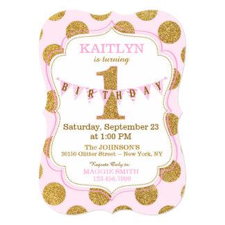 Pink Gold Glitter Sparkle First Birthday Invite