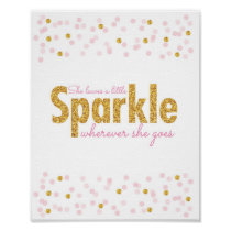 Pink & Gold Glitter Sparkle Nursery Wall Print