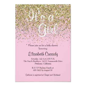 Toddler & Baby themed Pink & Gold Glitter Sprinkle Baby Shower Invite