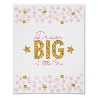 Pink & Gold Glitter Star Dream Big Nursery Print