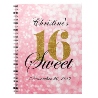 Pink Gold Glitter Sweet 16 Custom Guest Book
