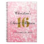 Pink Gold Glitter Sweet 16 Custom Guest Book Spiral Notebook