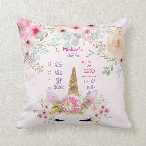 Pink Gold Glitter Unicorn Face Girls Baby Stats Throw Pillow