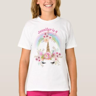 Pink Gold Glitter UNICORN Floral 4th Birthday Name T-Shirt
