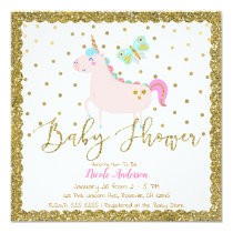 Pink & Gold Glitter Unicorn Girls Baby Shower Card
