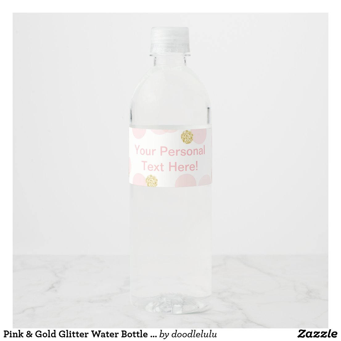 Pink & Gold Glitter Water Bottle Label Baby Shower