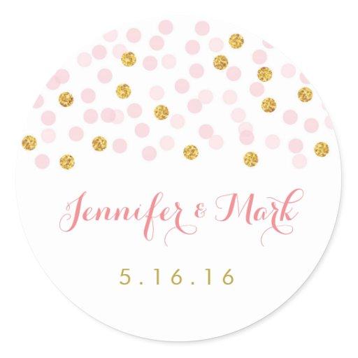 Pink & Gold Glitter Wedding Stickers