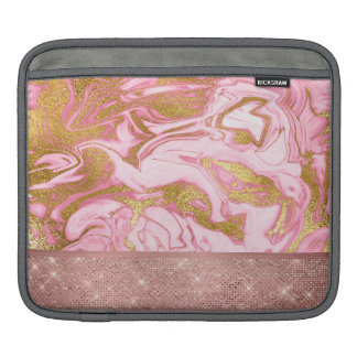 Pink Gold Gold Glitter and Sparkle Marble Sleeve For iPads