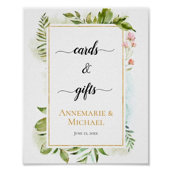 """Pink Gold Green Botanicals """"Cards & Gifts"""" Sign"""
