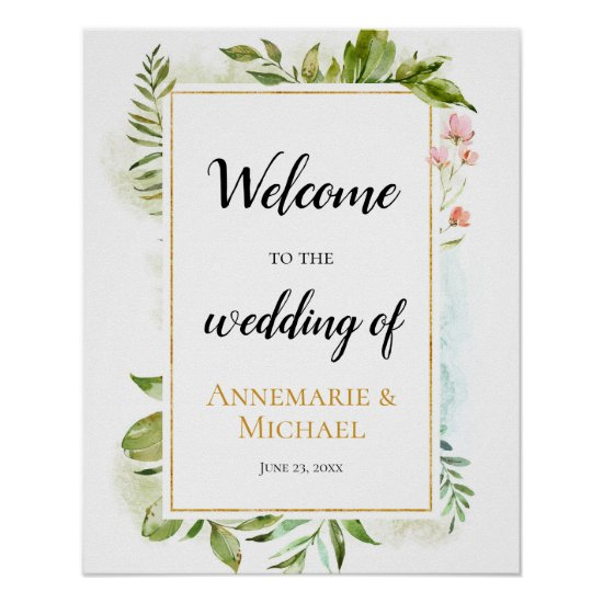 """Pink Gold Green """"Welcome To The Wedding Of"""" Sign"""