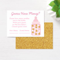 Pink & Gold Guess How Many Game Business Card