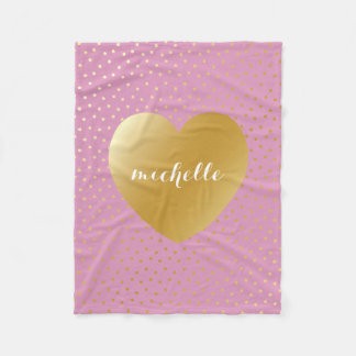 Pink Gold Heart Dots Pattern Custom Monogram Fleece Blanket