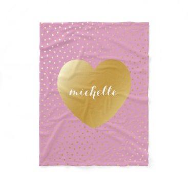Valentines Themed Pink Gold Heart Dots Pattern Custom Monogram Fleece Blanket