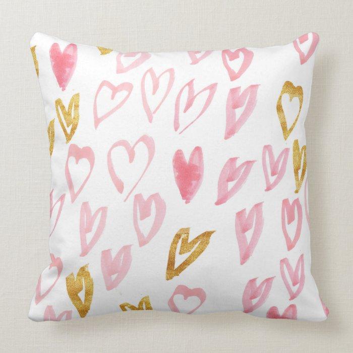 Pink & Gold Heart Throw Pillow Zazzle