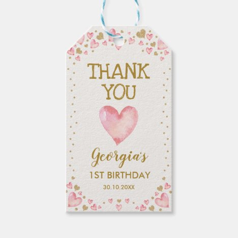 Pink Gold Hearts Valentines Birthday Baby Girl Gift Tags