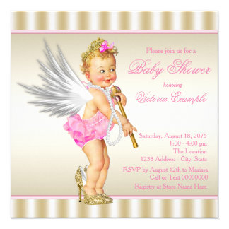 Pink Gold High Heel Angel Baby Girl Shower Card