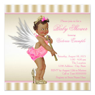 Pink Gold High Heel Angel Ethnic Baby Girl Shower Card
